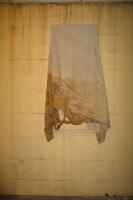 Humidité, dépôt 30 (détail) - Toile sur châssis, vue d'atelier